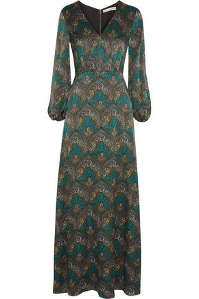 ALICE + OLIVIA Santina printed silk-cloqué maxi dress