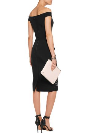 PETER PILOTTO Off-the-shoulder embellished crepe and wool dress