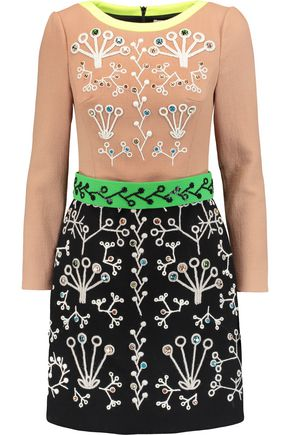 PETER PILOTTO Embellished embroidered wool-crepe mini dress