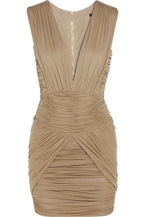 BALMAIN Ruched stretch-jersey mini dress