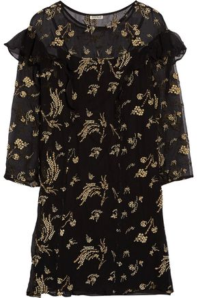 SUNO Ruffle-trimmed embellished silk-chiffon mini dress