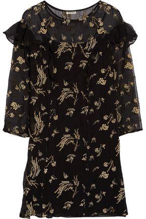 SUNO Ruffled embellished silk-georgette mini dress
