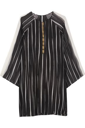 HALSTON HERITAGE Embellished striped georgette dress