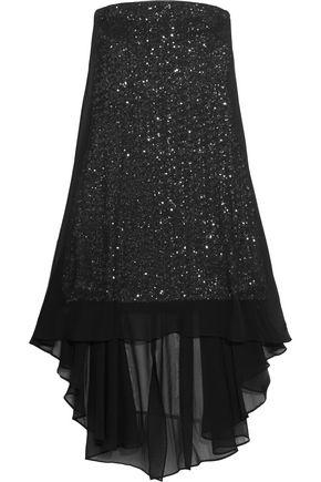HALSTON HERITAGE Layered sequined chiffon mini dress