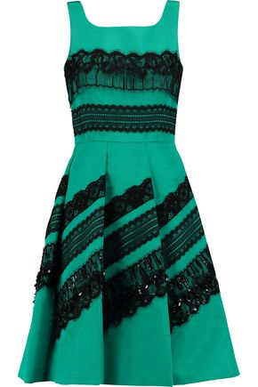 OSCAR DE LA RENTA Embellished lace-trimmed silk-satin dress