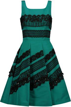 OSCAR DE LA RENTA Embellished lace-trimmed silk-satin dress