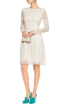 OSCAR DE LA RENTA Cotton blend-guipure lace dress