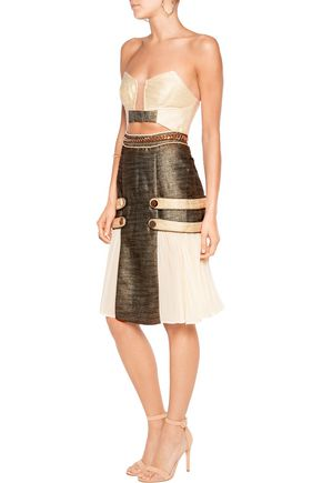 SELF-PORTRAIT Paneled cutout brocade dress