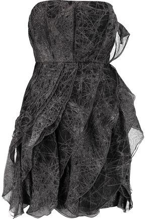 HALSTON HERITAGE Printed silk-organza mini dress