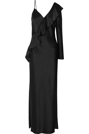 DIANE VON FURSTENBERG One-shoulder ruffle-trimmed satin maxi dress