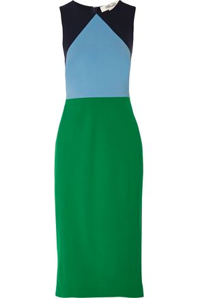 DIANE VON FURSTENBERG Color-block wool-blend dress