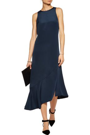 TIBI Flared silk-satin dress