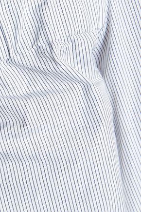 TIBI Cutout striped cotton-poplin mini dress