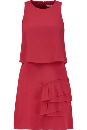 TIBI Sophia layered pleated silk crepe de chine mini dress