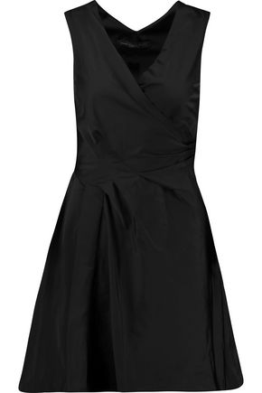 MARC BY MARC JACOBS Wrap-effect pleated matte-satin mini dress
