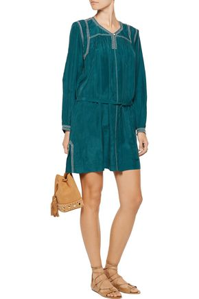 ISABEL MARANT Lindley belted embellished silk mini dress