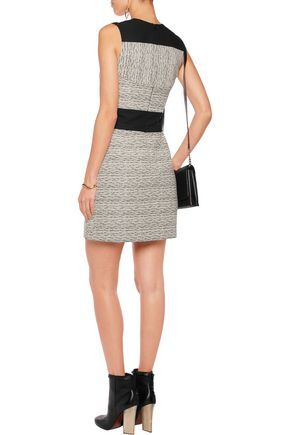 CARVEN Crepe-paneled ribbed cotton-blend jaquard dress