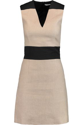 CARVEN Two-tone linen mini dress