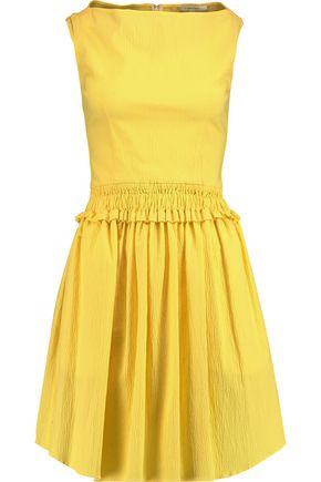 CARVEN Pleated cotton-blend seersucker dress