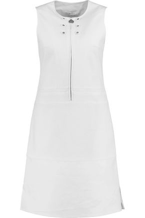 CARVEN Eyelet-embellished cotton-blend seersucker dress
