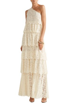 RACHEL ZOE Rayne one-shoulder tiered corded lace gown