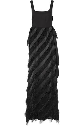RACHEL ZOE Corinna fringed paneled crepe, satin and organza gown