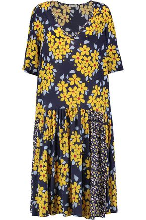 SUNO Pleated floral-print silk dress