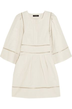 ISABEL MARANT Reone lattice-trimmed linen and cotton-blend mini dress
