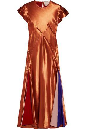 ROKSANDA Theile crepe de chine-paneled satin midi dress