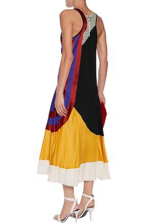 ROKSANDA Paneled silk-blend midi dress