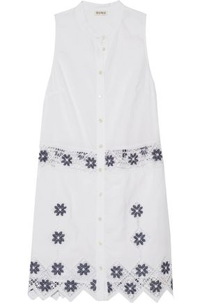 Suno Embroidered Linen And Cotton Blend Mini Dress