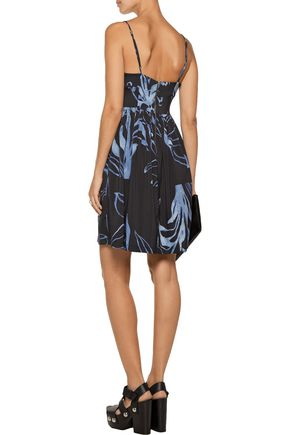 SUNO Pleated printed stretch-silk mini dress