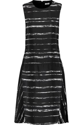 VINCE. Striped silk-crepe dress