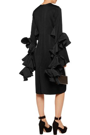 ELLERY Molotov ruffled satin-crepe midi dress