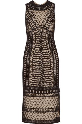 ALICE + OLIVIA Nat beaded macramé tulle midi dress