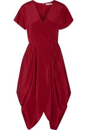ALICE+OLIVIA Jaimee draped pleated silk-blend dress