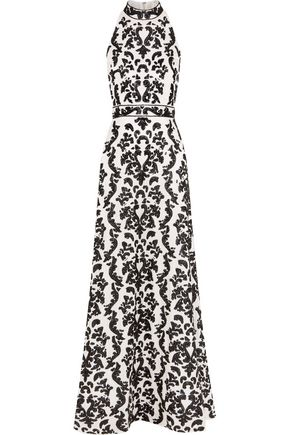 ALICE + OLIVIA Makenna embellished silk-satin gown