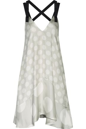 PAPER London Vacances polka-dot silk satin-twill mini dress