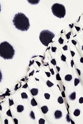 SALONI Alara polka-dot cloqué midi dress