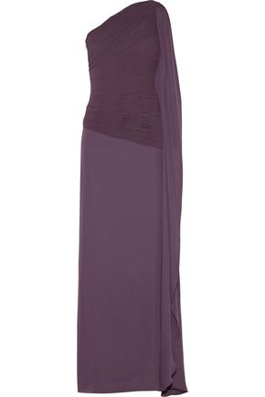 HALSTON HERITAGE One-shoulder twill gown