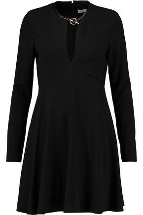 HALSTON HERITAGE Leather-trimmed crepe mini dress