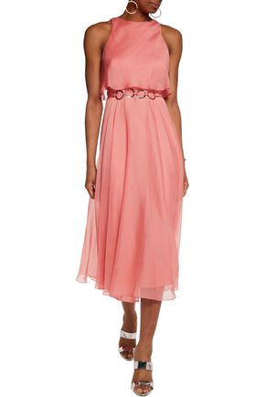 HALSTON HERITAGE Belted chiffon midi dress