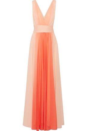 HALSTON HERITAGE Ombré pleated chiffon gown