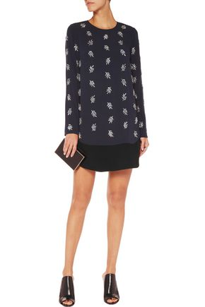 TANYA TAYLOR Crystal-embellished crepe mini dress
