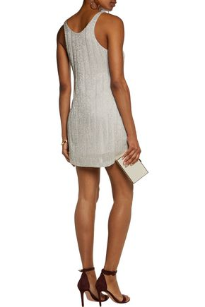 HALSTON HERITAGE Embellished crepe mini dress