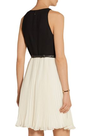 HALSTON HERITAGE Belted crepe and plissé-georgette mini dress