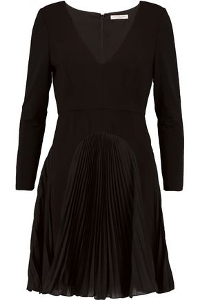 HALSTON HERITAGE Pleated chiffon-paneled crepe and stretch-jersey mini dress