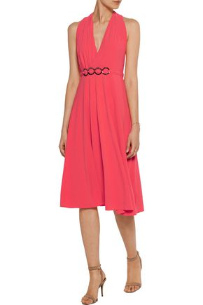HALSTON HERITAGE Asymmetric pleated crepe dress