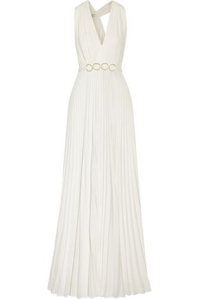 HALSTON HERITAGE Embellished pleated crepe gown