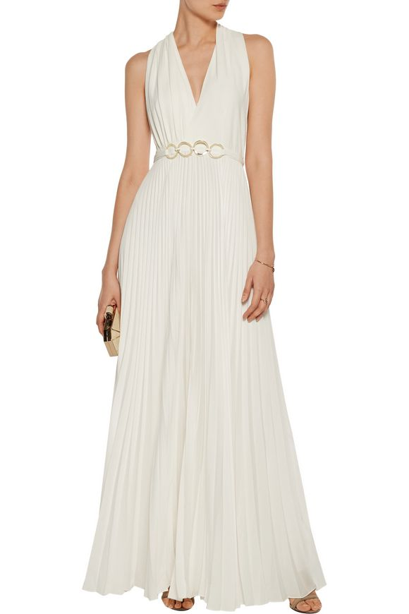 Embellished pleated crepe gown   HALSTON HERITAGE   Sale up to 70% off    THE OUTNET